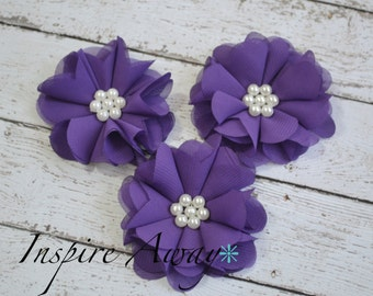 Set of 3- Purple Pearl Chiffon Flowers- Flower applique, fabric flower, wholesale flowers, chiffon flowers, headband supply