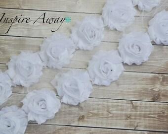 White Petite Shabby Chiffon Flower Trim - Your choice of 1 yard or 1/2 yard -  Chiffon Shabby Rose Trim, DIY headband supplies,