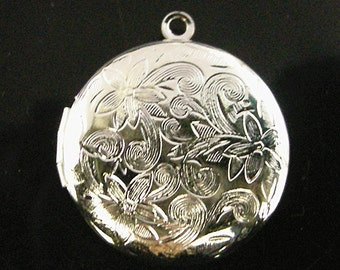1pc platinum look 28mm brass made round flower photo locket pendant-3886