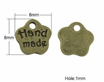 24pc 8x8mm antique bronze finish hand made charms-8384