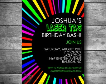 Laser Tag Birthday Invitation, Rainbow Invite, Printable, Email or Text Invitation