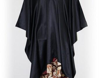 Black Silk Satin Mid-Length Kaftan with Silk Border by Molly Kaftans