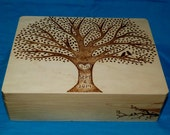 Decorative Rustic Wood Burned Wedding Card Box Custom Suitcase Wooden Wedding Tree Keepsake Trunk Personalized Love Birds Gift Carved Large
