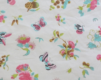 Vintage Sheet Fabric Fat Quarter - Pink and Blue Butterfly