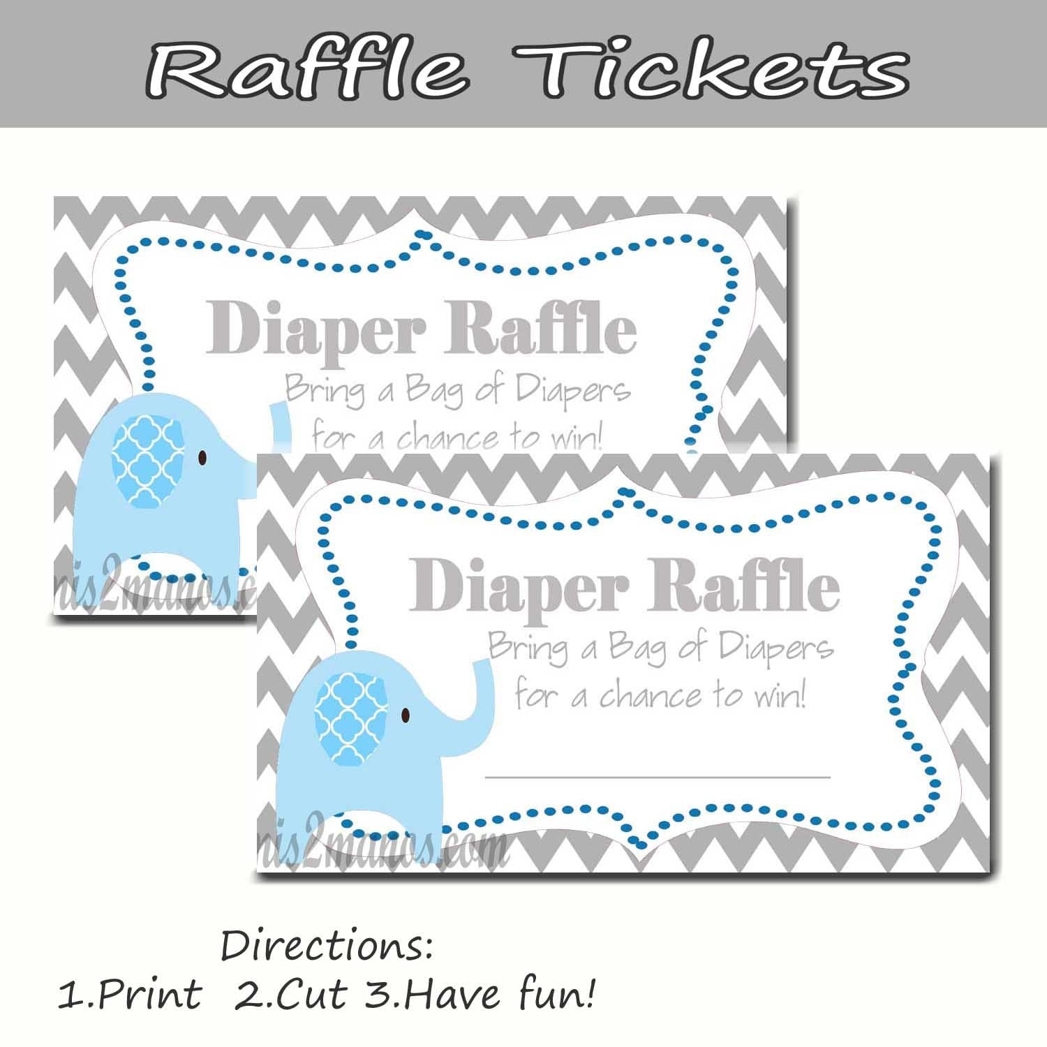 Baby Shower Diaper Raffle: Chevron Elephant Diaper Raffle Baby Shower Set Of 10