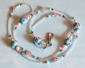 O O A K - Lampwork Glass Beaded Lanyard ID Badge Holder - BLOOMS on BLUE - Pink Ribbon - AW147