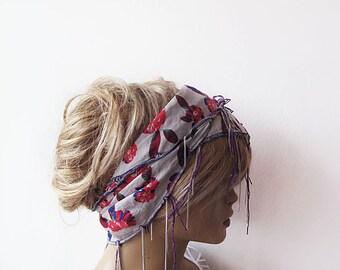 Floral, Spring Headband, Cotton Head Scarf, Women's Head Wrap, Summer Beach Hair Band Boho Casual, Head Chain, For Women