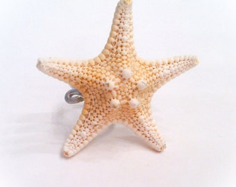 Mermaid Ring Natural White Knobby Starfish Shell Rings ON SALE