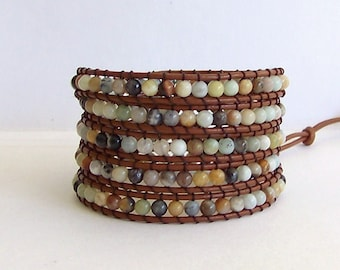 Amazonite Wrap Bracelet - Natural Amazonite, Natural Amazon Stone, Brown Leather - Boho Chic
