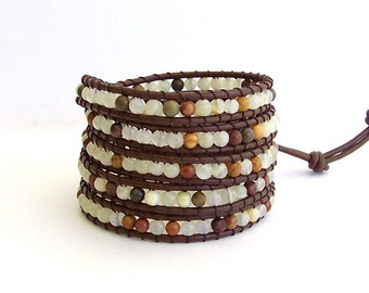 Leather Wrap Bracelet - Onyx, Jasper semi-precious Stones, Brown Leather