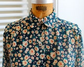 Vintage Liberty of London–like sheer floral print blouse with red and white flowers