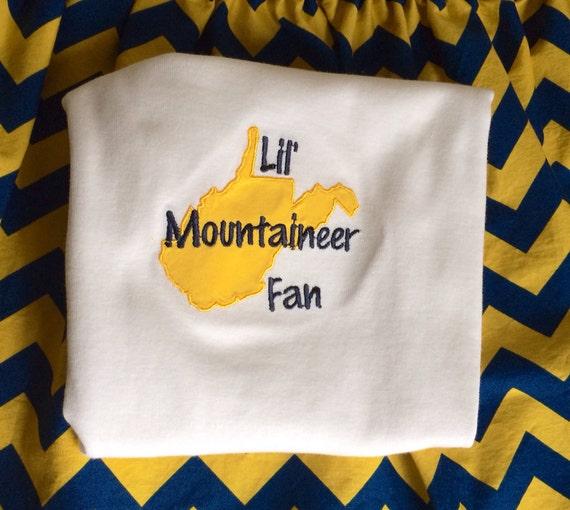 west virginia applique shirt lil mountaineer fan