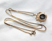 Victorian Charm Necklace Intaglio Fob  Box Chain Link 1940s Vintage Jewelry