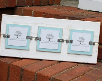 "Picture Frame - Distressed Wood - Holds 3 - 3"" x 3"" Photos - White & Sky Blue"