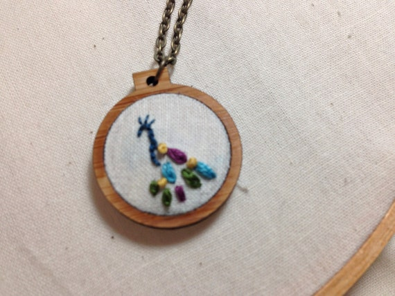 Peacock Necklace - Mini Embroidery Hoop Necklace