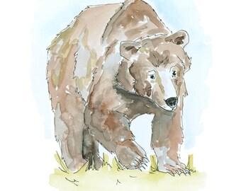 Watercolour Grizzly Bear Print