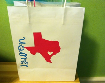 Texas State Party Theme.  Set of Custom / Personalized Gift Bags for Bachelorette Party.