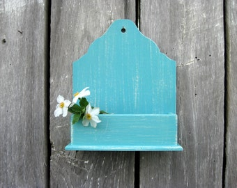 Hanging Wall Box Wall Pocket Small Organizer Aqua Retro Distressed White Rustic Weathered Wooden