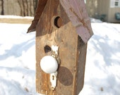 FREE SHIPPING: Birdhouse from Salvaged Repurposed Materials
