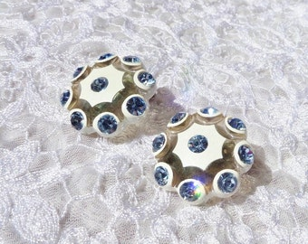 Vintage Blue Rhinestone Clip Earrings Blue and White