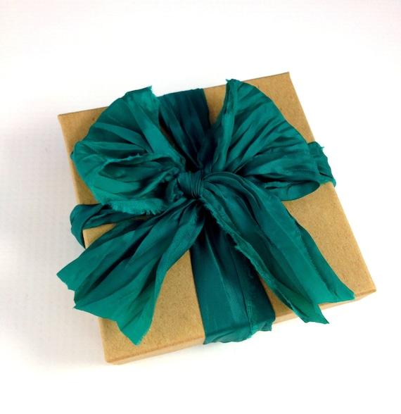 Emerald Green Satin Hand Ripped Ribbon 2 Yards 6 Long