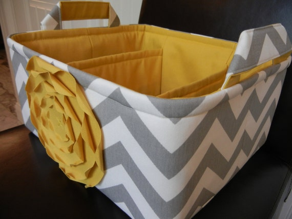 """LG Diaper Caddy(choose ROSE&LINING color)12""""x10""""x6"""" Two Dividers-Baby Gift-Chevron-Fabric Storage Organizer-""""Yellow Rose on Grey Zigzag"""""""