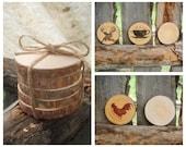 Wood Coasters Rustic Wood Coasters Reclaimed Wood Coasters Tree Slices Montana Made Rustic Wedding Rustic Home Cabin Lodge Decor ~ Set of 5