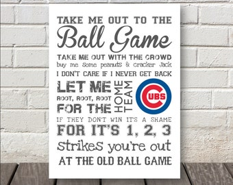 Take Me Out to the Ballgame Print - Nursery Art or Kids Room Art - Can be Personalized for Your Team :)