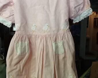Vintage Pink Dress with Ducks