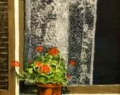 "Fine art print of my original oil painting ""Lace Curtains"""