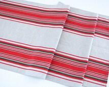 Linen Table Runner / Striped / Red Stripes