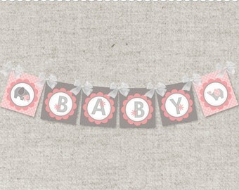 Instant Download PDF Baby Banner & Shower Welcome Sign - Pink Elephants and BABY banner - printable PDF