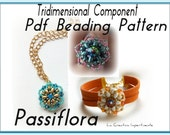 "Tridimensional Tutorial ""Passiflora"" - Pdf Beading Pattern -  Superduo  Beaded Bead Ring, Bracelet, Pendant"