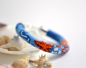 Coral Reef  -  Beaded Bracelet  Bead Blue White Coral Red  Multi-Colored Colorful Minimalist  Handmade Beadwork Jewelry