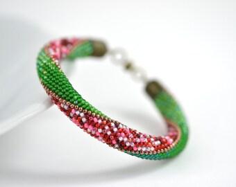 Strawberry Fields - Bead Crochet  Bracelet Beaded Bracelet  Bead Green Red Pink  White Multi-Colored Colorful Minimalist Beadwork Jewelry