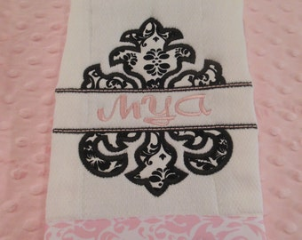 Damask Split Name Burp Cloth
