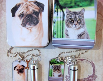 Pet Memory Dog Tag and Cremation Urn Loss of Cat, Loss of Dog Necklace with Photo Gift Tin for Pet's Ashes for Pet Lovers Dog Cat Moms Dads