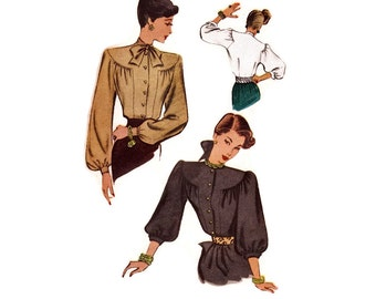 1940s Blouse Pattern McCall 6716, Bishop Sleeves, Front Gathers, Round Yoke, Unusual Details, 1946 Vintage Sewing Pattern Bust 30 Uncut