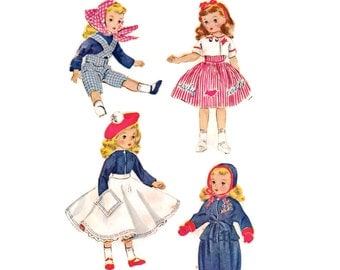 """1950s Doll Clothes Pattern, McCall's 1720, Ski Suit, Overalls, Early Bird Dress, 15"""" Sweet Sue Doll, 1952 Vintage Sewing Pattern, Uncut"""