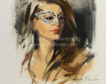 The Theatrical Woman - Portrait - Oil Painting by Jennifer Brandon - Jaché Studio