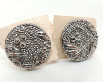 Two Vintage Metallic Silver Buttons