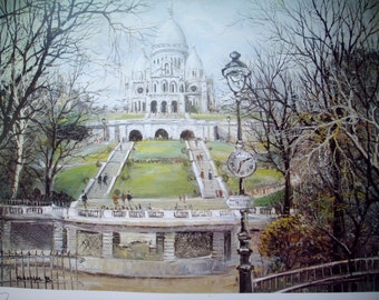 Stunning Vintage French PARIS Sacre Coeur  Art Print c1980's-Ready for Framing