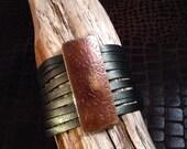 Wide leather snap bracelet with copper slide, handmade by SuSu Studio