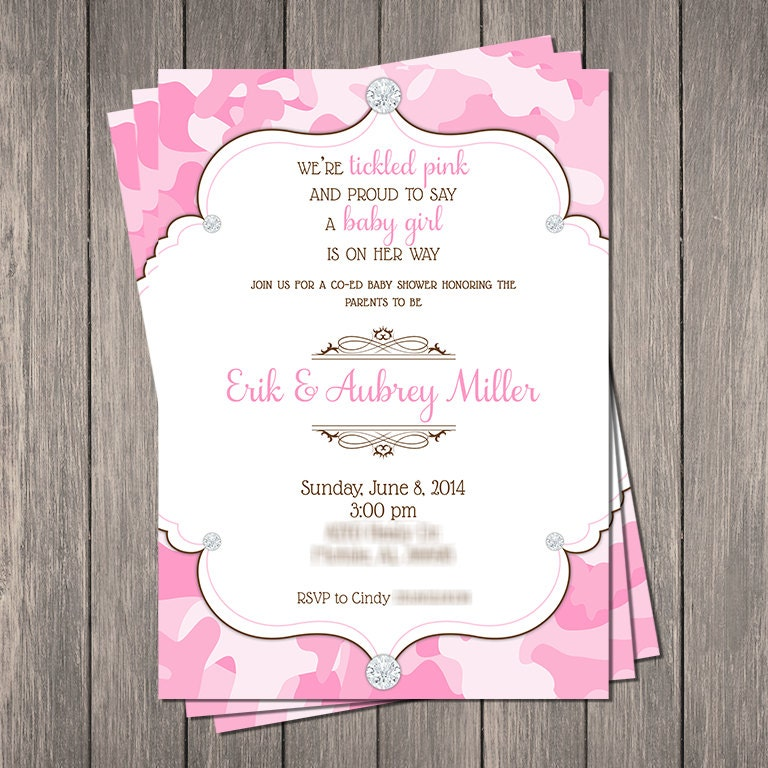 pink camo bling baby shower invitation printable 5 x
