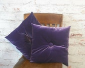 Purple Velvet Square Pillow Set Pair Purple Velvet Tufted Pillows Set Retro Pillows