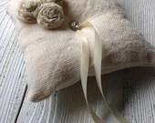Cream Burlap Ring Bearer Pillow Ring Bearer Pillow Rhinestone Accent Chiffon Roses