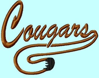 Cougars word and tail Satin Embroidery Designs Includes 4 sizes INSTANT DOWNLOAD