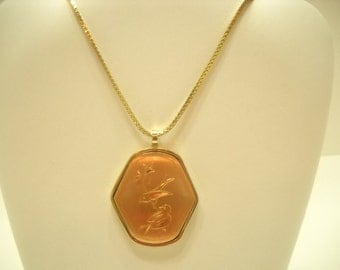 Etched Copper Tone Pendant Necklace (789)