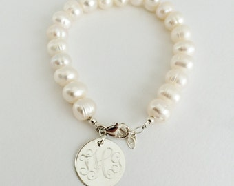 Monogram Freshwater Pearl Bracelet with Sterling Silver for Bridal Bridesmaid Present