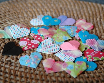 "20 Small Origami Hearts - 1.5"" Assorted Colors And Patterns"